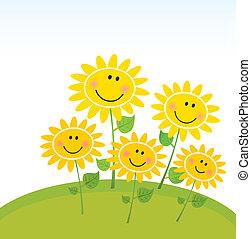 heureux, tournesols, jardin, printemps
