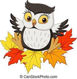hibou, séance, automne, dessin animé, mignon, feuilles