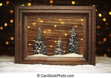 hiver, cadre, neige, arbres, scène, paisible