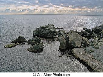 hiver, evening., côte, mer noire, rocheux
