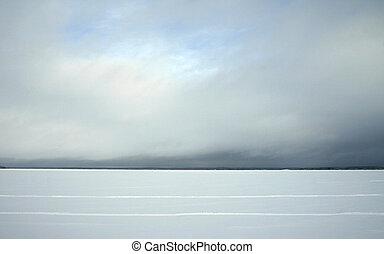 hiver, horizon, lac