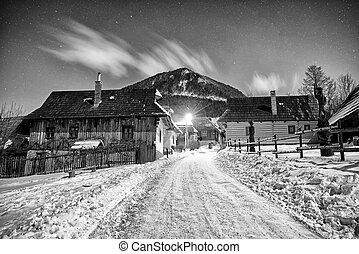 hiver, nuit, slovaquie, village, unesco, vlkolinec