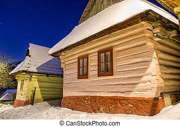 hiver, petites maisons, vlkolinec, slovaquie, village, unesco, nuit