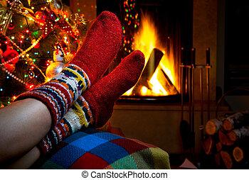 hiver, soir, cheminée, romantique, noël