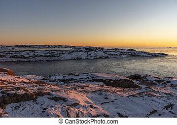 hiver, soir, mer