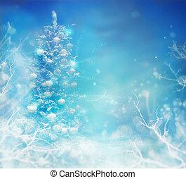 hiver, surgelé, arbre, snow., fond, noël
