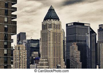 hiver, ville, gratte-ciel, new york