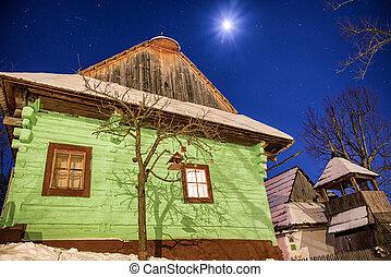 hiver, vlkolinec, slovaquie, village, petite maison, unesco, nuit