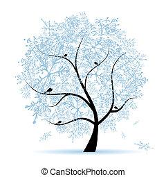 holiday., hiver, arbre noël, snowflakes.