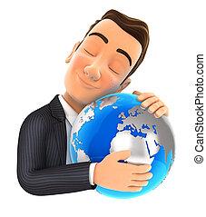 homme affaires, 3d, étreindre, la terre