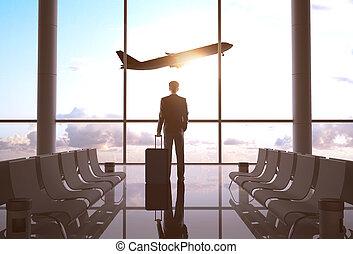 homme affaires, aéroport