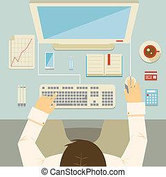 homme affaires, fonctionnement, sien, bureau