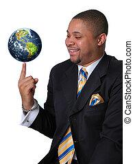 homme affaires, la terre