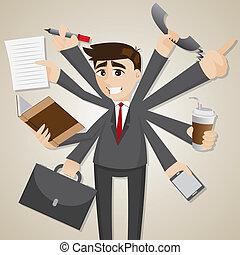 homme affaires, multi, dessin animé, tasking