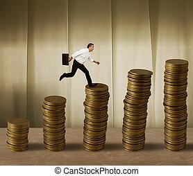 homme affaires, sauter, argent