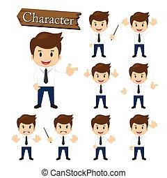 homme affaires, vecteur, ensemble, illustration, caractère