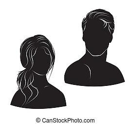 homme, blanc, femme, fond, figure