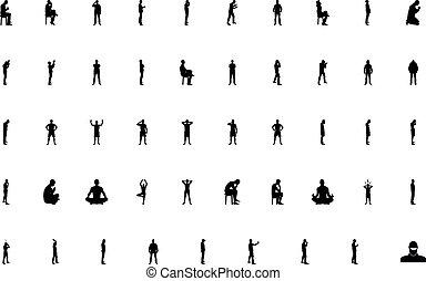 homme, gens, noir, style, couleur, ensemble, concept, solide, image, silhouette
