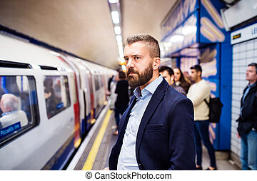 homme, métro, jeune