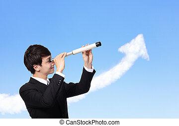 homme, par, télescope, business, regarde