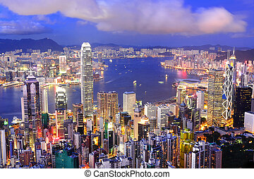 hong, district central, port, kong, horizon, nuit, victoria, vue