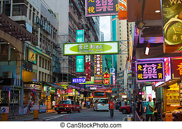 hong kong, -, 1st:, rue, porcelaine, nuit, 2, juillet, 1er, vue