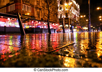 hongrie, ville, budapest, pluie