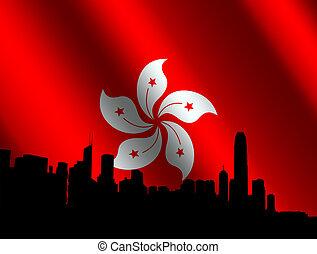 horizon, drapeau, hong kong