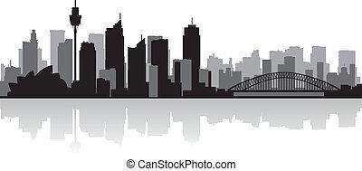 horizon sydney, vecteur, ville, australie, silhouette