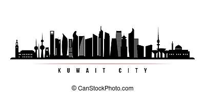 horizon ville, banner., horizontal, koweït