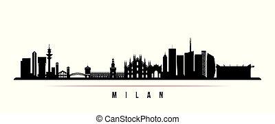 horizon, ville, horizontal, milan, banner.