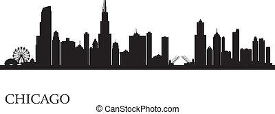 horizon ville, silhouette, fond, chicago