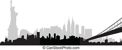 horizon ville, vecteur, york, nouveau