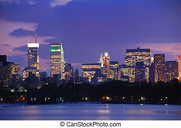 horizon ville, york, nouveau, crépuscule