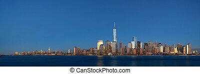 horizon ville, york, nouveau, nuit