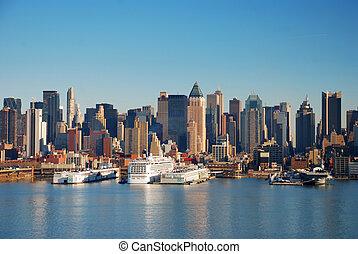 horizon, ville, york, urbain, nouveau