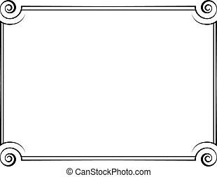 horizontal, vecteur, cadre