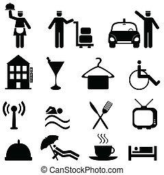 hospitalité, hôtel, ensemble, icône