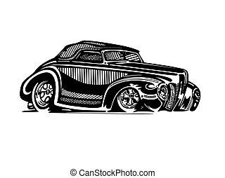 hotrod, clipart, voiture classique, vecteur, retro, vendange, dessin animé, illustration.