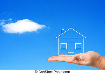 housing., concept, paume, maison