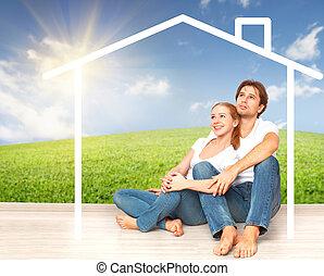 hypothèque, couple, rêver, jeune, concept:, logement, maison, families.