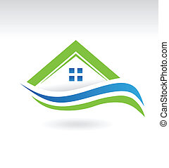 icône, moderne, propriété, maison