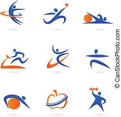 icônes, 2, fitness, -