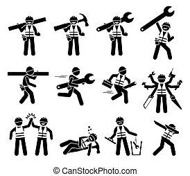 icônes, figures, construction, bricoleur, set., ouvrier, crosse