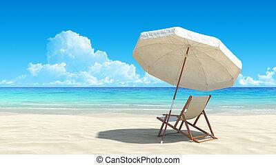 idyllique, parapluie, exotique, sable, chaise, plage