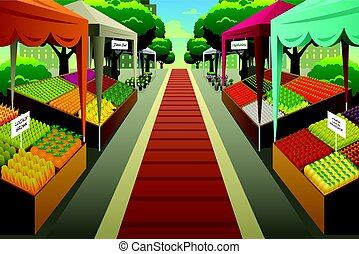 illustration, fond, fermiers commercialisent