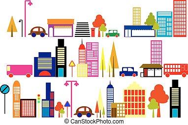 illustration, ville, vecteur