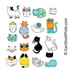 illustrations, vecteur, doodles, collection, chat