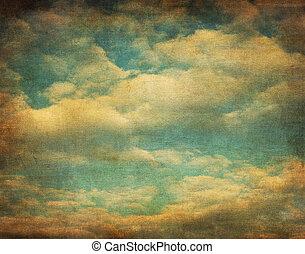 image, ciel, retro, nuageux