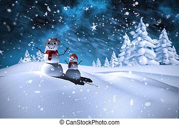 image composée, bonhomme de neige, famille